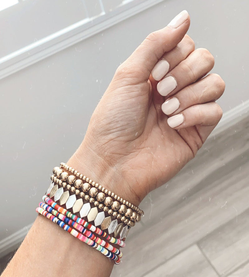 Worn Gold Beaded Stretch Bracelet -Set of 3 | FINAL SALE