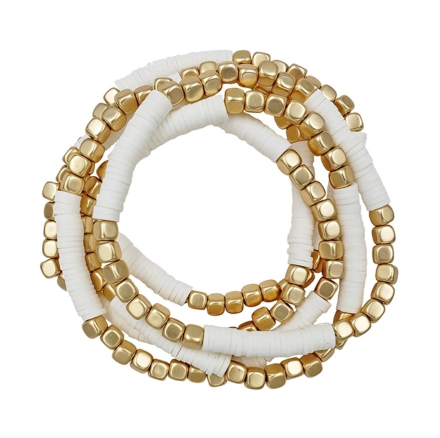 White Rubber And Gold Nugget Stretch Bracelet- Set of 5