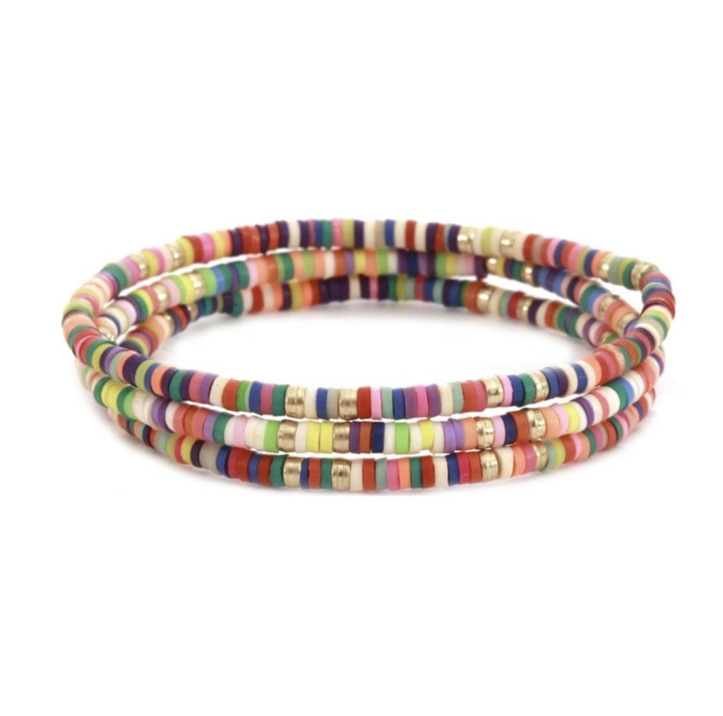 Multi Rubber Stretch Bracelet -Set of 3