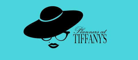 blue background with a black silhouette of a woman and text of planners at tiffanys