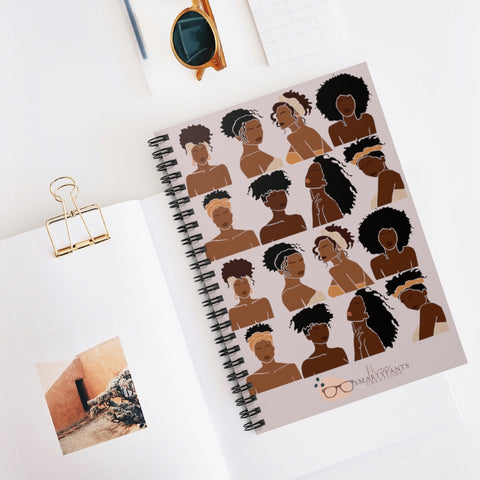 Shades of Melanin Hard Covered  Ruled Spiral Notebook