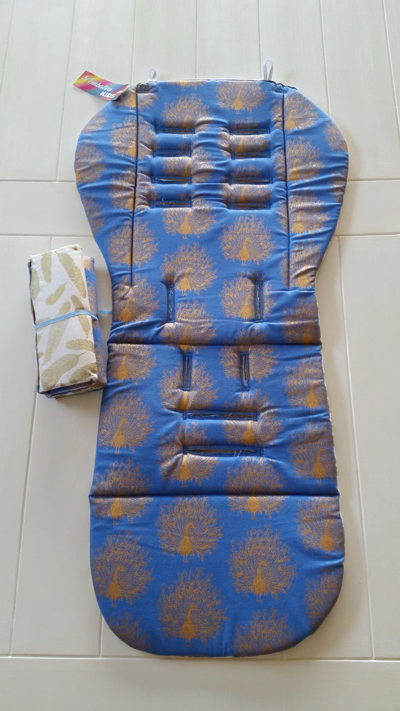 Reversible Pram Liner Blue gold Peacock - Cream with Gold feather