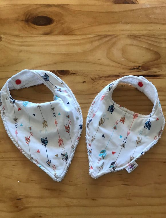 17/ boy Bib - Feather, Red, Blue & Gold on White