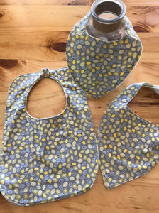 Bib - Yellow & Grey Pattern Leaf