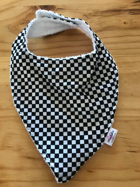 23/ boy Bib - Checkered Black & White