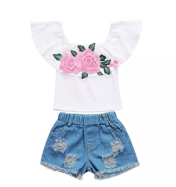 Rosey Pink Ruffle Top & Denim Shorts Set