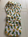 Reversible Pram Liner- Lime Palm Tree with yellow Pineapples
