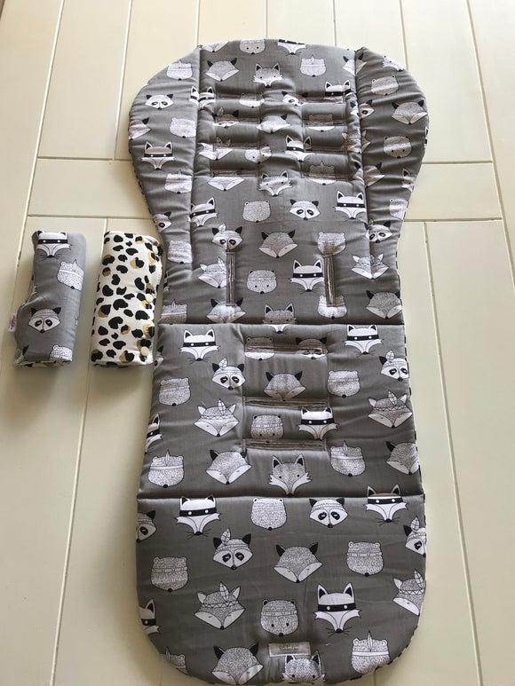 Reversible Pram liner: Forest Friends with Leopard Spots