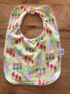 18/ girl Bib - Yellow, Pink, Green Pineapples