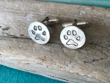 Sterling Silver Cufflinks with your unique pets paw print on the front
