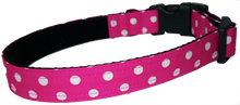 Cute Pink Polka Dot Dog Collar - lined with soft velvet ribbon
