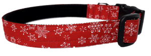 Christmas Red Snowflake Collar - lined with soft velvet ribbon