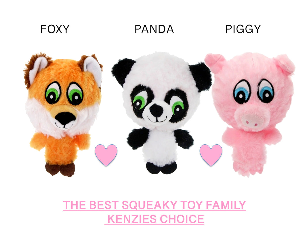 Piggy, Panda & Foxy - Best Bouncy Squeaky Dog toys ever :)