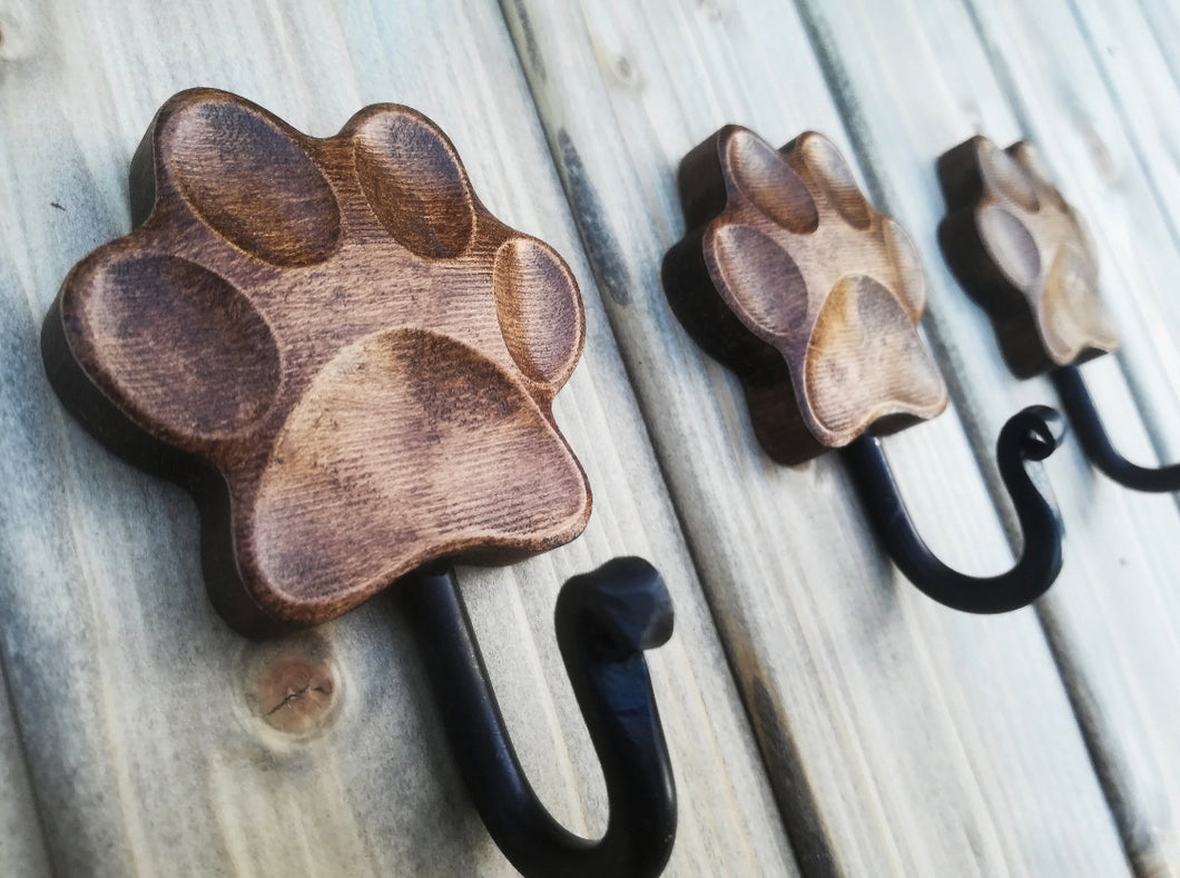 Handmade natural waxed Wood 'Paw' Wall Leash Holder