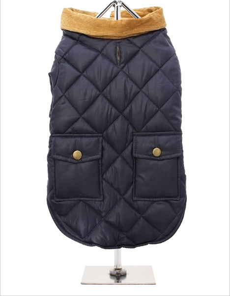 Heritage quilted Town & Country Coat - Navy Blue / Forest Green