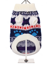 White Fair Isle Paw Print Vintage Knitted Sweater