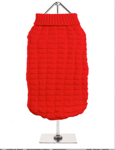 Cosy Red Waffle Textured knitted Sweater