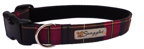 Rich Burgundy Tartan Dog Collar - lined with soft velvet ribbon