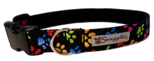 Rainbow Paw Print Collar - lined with soft velvet ribbon