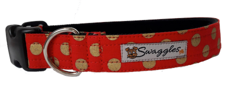 Red with Gold Star Collar - lined with soft velvet ribbon