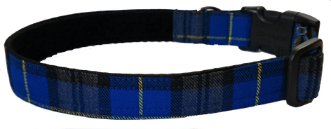 Royal Blue Tartan Collar - lined with soft velvet ribbon