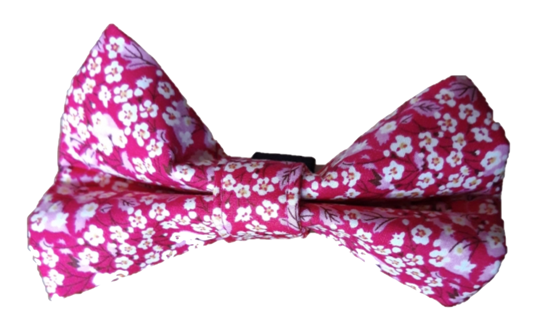 Pink Flower Print Bow Tie