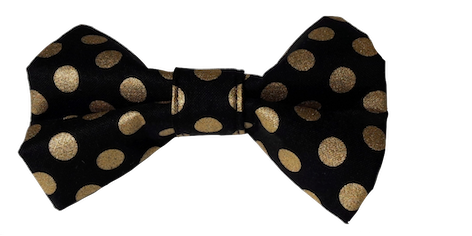 Black and Metallic Gold Polka Dot  -  Bow Tie