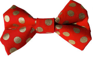 Red and Metallic Gold Polka Dot  -  Bow Tie
