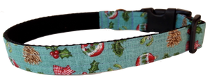 Vintage Christmas Holly Pine and Baubles Collar - lined with soft velvet ribbon