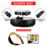 Leather Gym Belt + Free Straps - Black - Elevate Equipment