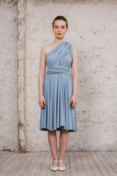 "Infintiy Dress ""Primrose"" kurzes Multitie-Kleid in Taubenblau"