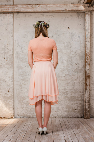 Flatteriges Chiffonkleid in Peach