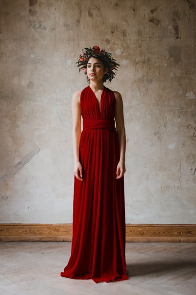 Infinity Dress langes Multitie-Kleid in Rot