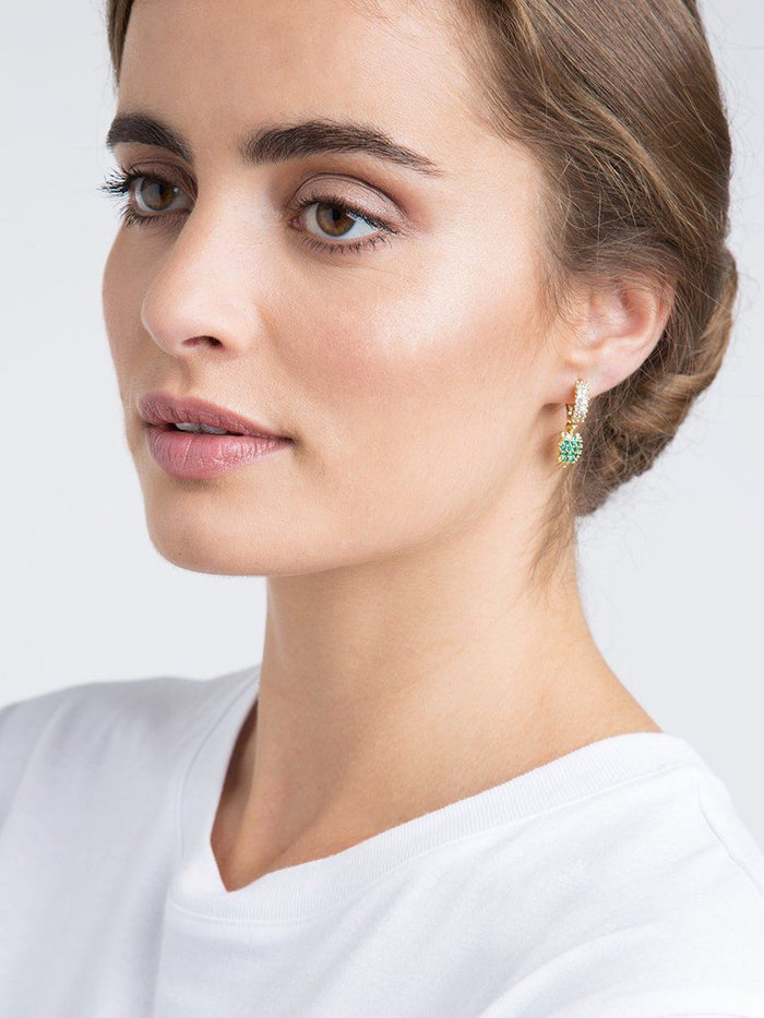 Turtle and Flower Earrings - gold