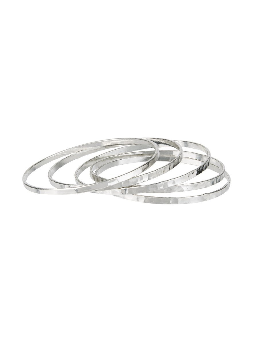 Structured Bangle set of 5 - Silver