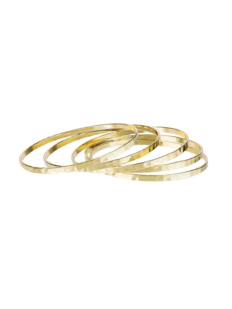 Structured Bangle set of 5 - Gold
