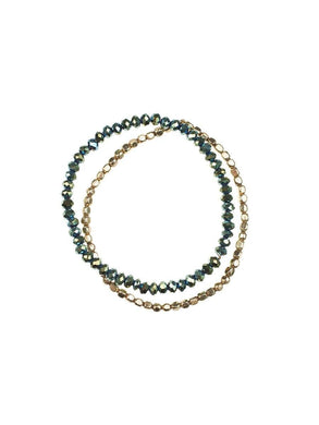 Duo Bracelet Set - green/gold