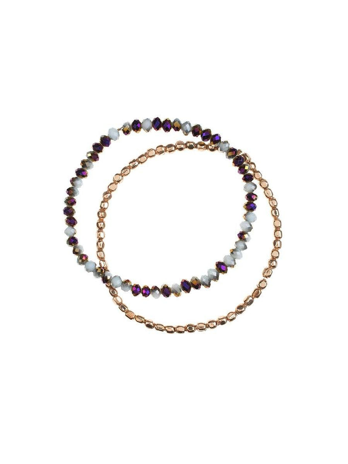 Duo Bracelet Set - amethyst/rose gold