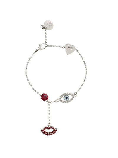 Evil Eye and Lip Bracelet - silver