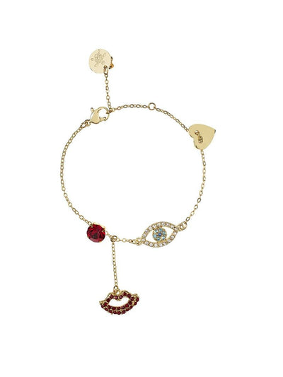 Evil Eye and Lip Bracelet - gold