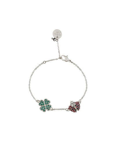 Four Leaf Clover and Ladybird Bracelet - silver