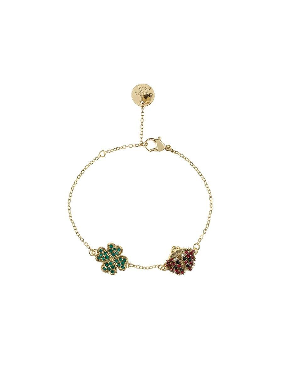 Four Leaf Clover and Ladybird Bracelet - gold