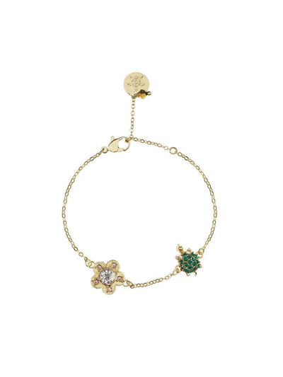 Turtle and Flower Bracelet - gold