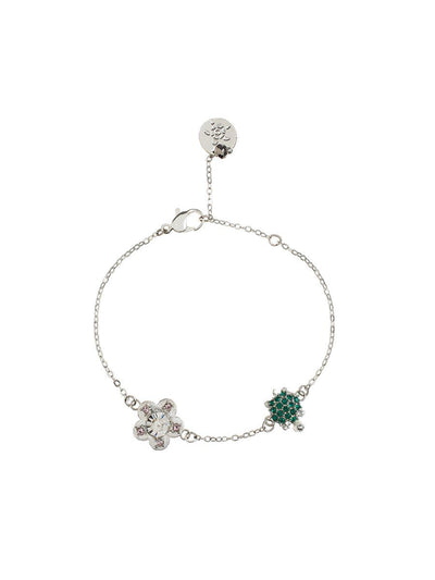 Turtle and Flower Bracelet - silver