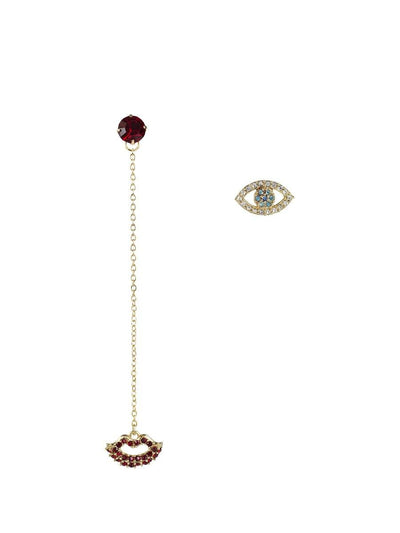 Evil Eye and Lip Earrings - gold