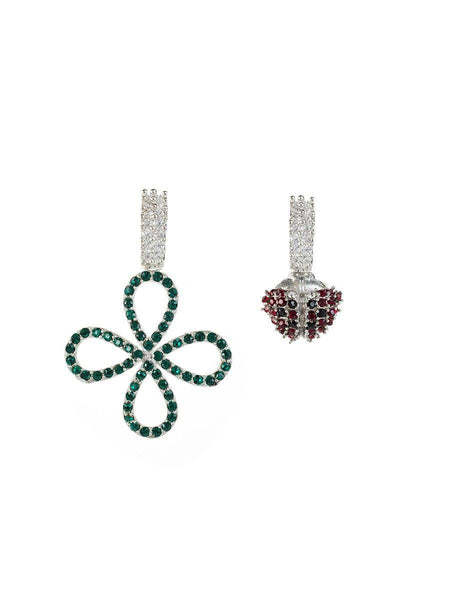 Four Leaf Clover and Ladybird Earrings - silver