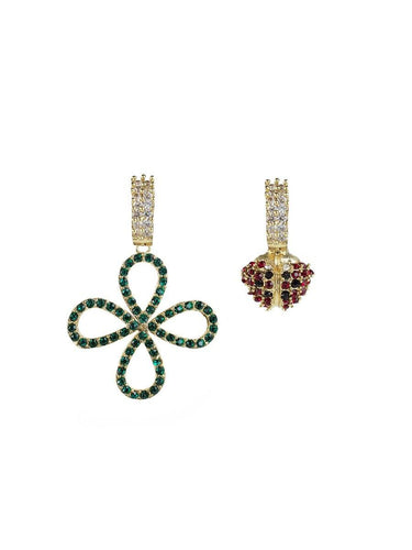 Four Leaf Clover and Ladybird Earrings - gold