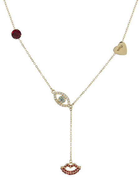 Evil Eye and Lip Necklace - gold