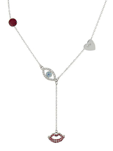 Evil Eye and Lip Necklace - silver