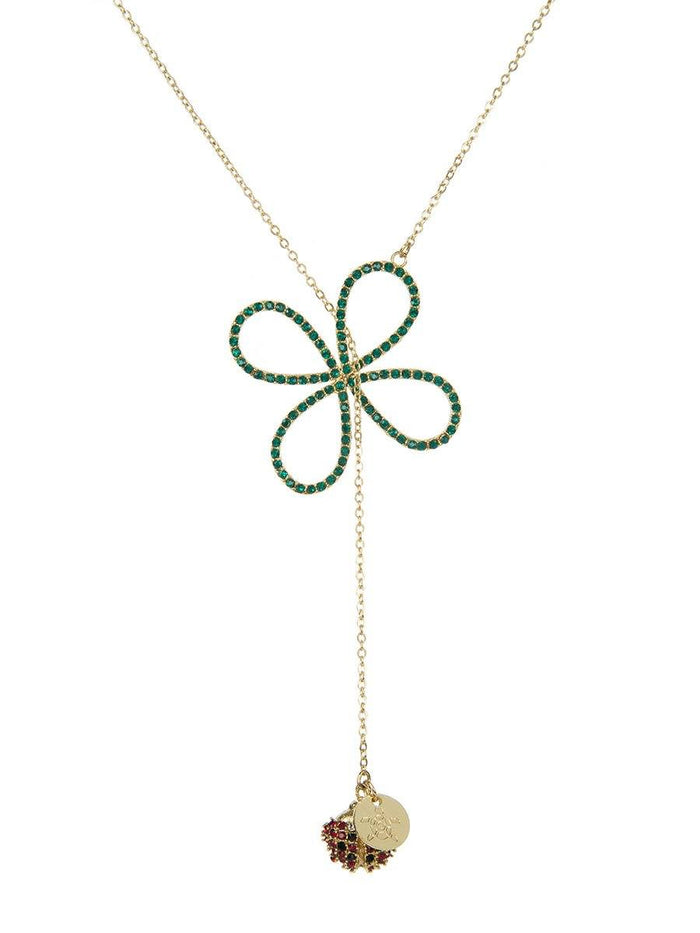 Four Leaf Clover and Ladybird Necklace - gold
